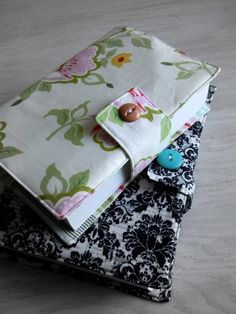 Fabric Book Cover Tutorial.....you could make it bigger, and use it on text books