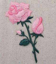 "Rose Flower Iron on Applique High quality, detailed embroidery applique. Can be sewn or ironed on. Great for hats, bags, clothing, and more! Size is approx. 2-1/4"" x 4-3/4"" or 5.7cm x 12.06"