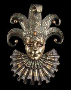 Große Venezianische Maske - Harlekin - Veronese Venedig Karneval Deko