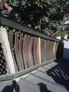 Rail system is made of barrel stays Fresno Fair, Outdoor Furniture, Outdoor Decor, Hammock, Barrel, Home Decor, Decoration Home, Barrel Roll, Room Decor