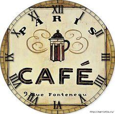View album on Yandex. Hanging Clock, Diy Clock, Clock Art, Coffee Cafe, Coffee Shop, Clock Face Printable, Decoupage, Cafe Art, Paris Cafe