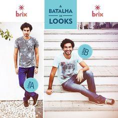 A Batalha de Looks de hoje é especial!  Diz aí: qual look deve ir direto pro closet dos meninos?