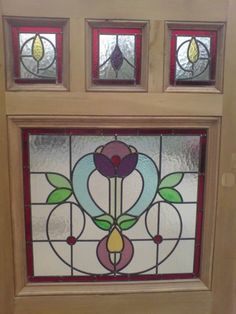 ORIGINAL VICTORIAN EDWARDIAN STAINED GLASS EXTERIOR FRONT DOOR EDWARDIAN 6 PANEL