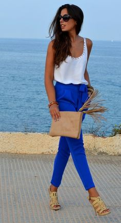 cobalt pants and a white top
