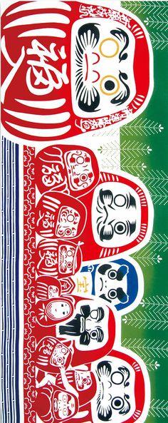 Japanese Tenugui Cotton Fabric, Dharma Doll Design, Red & Green, Traditional Daruma Dolls Art, Hand Dyed Fabric, Art Wall, Home Decor, JapanLovelyCrafts
