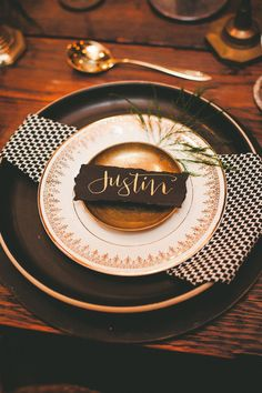 black and gold place setting, photo by Melissa Biador http://ruffledblog.com/barber-shop-anniversary-shoot #weddingideas #placesettings