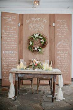 Rustic bride and groom table: http://www.stylemepretty.com/2013/04/25/nashville-wedding-from-kristyn-hogan-cedarwood-weddings/ | Photography: Kristyn Hogan - w.kristynhogan.com