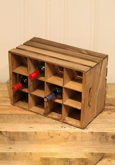 Rate this from 1 to Wine Rack How to Make a Pallet Wine Rack Wall Mounted Staggered Wine Rack with Wine Glass Slots 15 Amazing DIY Wine Rack Ideas Rustic Pallet Wine, Pallet Crates, Wood Crates, Large Wooden Crates, Wine Rack Storage, Crate Storage, Storage Ideas, Wine Bottle Rack, Bottle Stopper