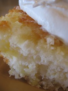 """Light and Refreshing"" low fat pineapple cake made with TWO ingredients - angel food cake mix and crushed pineapple! 1 box angel food cake mix 1 {15 1/2 oz}. can crushed pineapple with juice Mix together and pour into a 9x13 ungreased glass pan. Bake at 350 for 25-30 minutes."