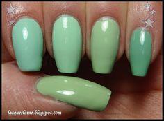 Essie - Mint Candy Apple  China Glaze - Re-Fresh Mint  BB Couture - Laguna Lagoon  Barry M - Mint Green (my MAC - Peppermint Patti dupe)  Thumb: Illamasqua - Milf