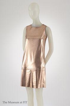 Paraphernalia, dress, copper lamé knit, circa 1967, USA, gift of Mrs. Ulrich Franzen.