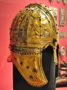 Late Roman ridge helmet (Berkasovo-type), found at Deurne, Netherlands. It is covered in silver-gilt sheathing and is inscribed to a cavalryman of the equites stablesiani.