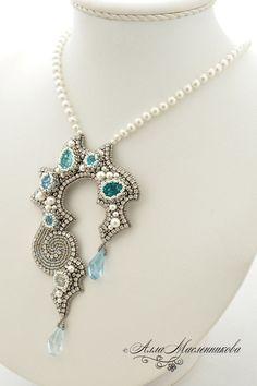 Купить Кулон Crystall Waterfall с кристаллами и жемчугом Swarovski - бирюзовый, серебристый, голубой