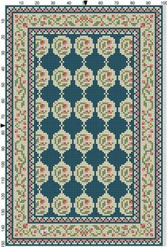 Rug pattern from Casey's Minis Mini Cross Stitch, Cross Stitch Borders, Cross Stitch Flowers, Cross Stitching, Diy Embroidery, Cross Stitch Embroidery, Embroidery Patterns, Tapete Floral, Dollhouse Accessories