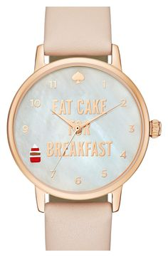 "Adoring the frosted cupcake that marks 8 o'clock on this feminine mother-of-pearl and gold, Kate Spade watch that includes the quote ""Eat Cake For Breakfast""."