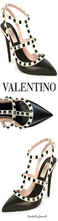 Pre Fall 2015 Valentino | Rockstud Colorblock Leather Sandal | House of Beccaria~