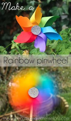 How to make a #rainbow pinwheel - easy step by step instructions. Gorgeous #craft for #spring