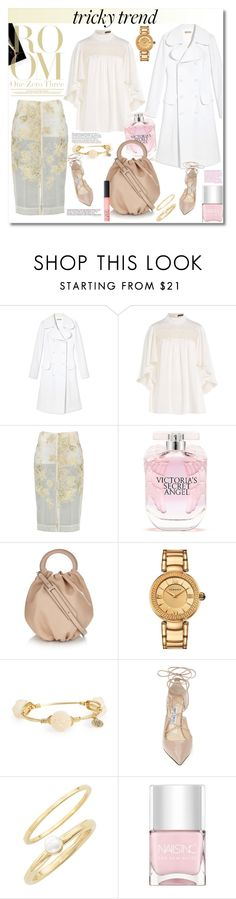 """Tricky Trend"" by vkmd ❤ liked on Polyvore featuring Michael Kors, Alexander McQueen, By Sun, Victoria's Secret, Loewe, Versace, Bourbon and Boweties, NARS Cosmetics, Jimmy Choo and Jules Smith"