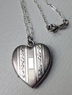 Vintage Antique Sterling Heart Locket Necklace by MemoryStation