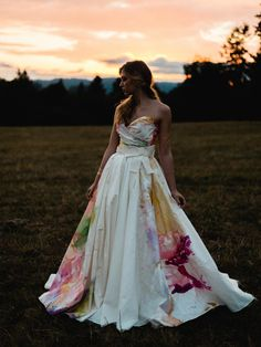 """""""In Bloom"""" handpainted wedding gown by Claire La Faye - ClaireLaFaye.com - Photo by Jon Duenas"""