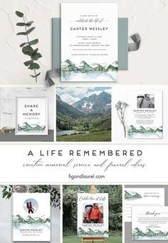 #funeralservice #celebrationoflife #memorials #figandlaurel We have added a beautiful Celebration of Life set to the site featuring the beauty of watercolor mountains. Perfect for the outdoor enthusiast who loved nature. Printed and digital options available.