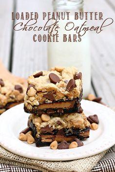 Loaded Peanut Butter Chocolate Oatmeal Cookie Bars on MyRecipeMagic.com