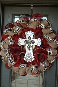 Deco mesh/burlap cross wreath