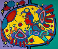Norval Morrisseau at the National Gallery. Look below for other pictures and you can also access a short biography through this link. Art Des Gens, Art Inuit, Art Quotidien, Blog Art, People Art, First Nations, Oeuvre D'art, American Art, Les Oeuvres