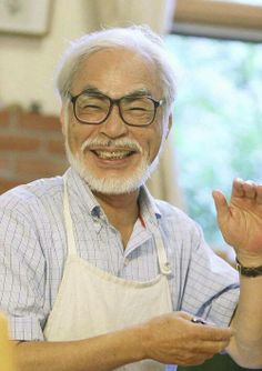 """Mr. Hayao Miyazaki. This picture was taken while he was making his last movie, """"The Wind Rises"""". His smile is magical."""