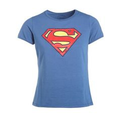 T-shirt superman ($110) ❤ liked on Polyvore featuring tops, t-shirts, superman tee, superman logo t shirt, superman top, blue superman t shirt and blue top