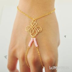 SALE 10% SHOP // Slave Bracelet// Cable Chain with Chandelier Wire Pendant with Innocent Pink Seed Beads, Heart Chain Extension, Bracelet on Etsy, $19.00