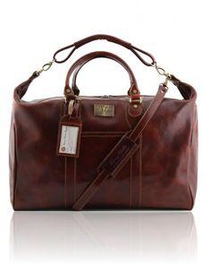 Travel leather weekender bag Brown