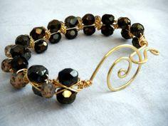 Wire Bracelet  Bronze and Gold by OceanPearlJewellery on Etsy, $30.00