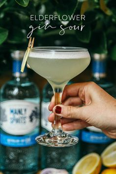 Try the ginny version of a whiskey sour - a refreshing, zingy mix of citrus, sweet elderflower, creamy foam and delicious dry gin! Cocktails To Try, Craft Cocktails, Summer Cocktails, Party Drinks, Fun Drinks, Alcoholic Drinks, Beverages, Gin Recipes, Gin Cocktail Recipes