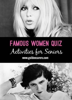 # International Women's Day - March 8 # A quiz about famous women through the ages. A wonderful reminiscing activity for the elderly!