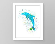 Dolphin poster nursery watercolor splash art pictures silhouette nursery wall art cubicle decor tribal art trendy art home decor Wall art by GecleeArtStudio on Etsy