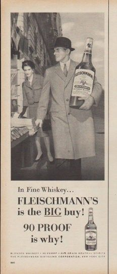 "Description: 1960 FLEISCHMANN'S WHISKEY vintage magazine advertisement ""In Fine Whiskey"" -- In Fine Whiskey ... Fleischmann's is the BIG buy! 90 PROOF is why! -- Size: The dimensions of the half-page advertisement are approximately 5.25 inches x 13.5 inches (13 cm x 34.25 cm). Condition: This original vintage half-page advertisement is in Excellent Condition unless otherwise noted."