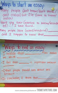 How to start an essay or end one - image only