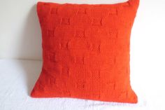 Pure Red Hand Knit Pillow Cover Throw Pillow by Adorablewares