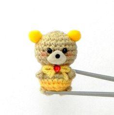 Yellow pom pom ears BBQ MochiQtie  Crochet amigurumi by MochiQtie, $14.00