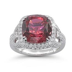 beautiful Garnet ring in 14k white gold for $2490 call (925)274 1444