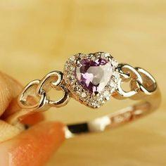 Heart Ring, Amethyst, Silver Rings, Jewels, Gemstones, Ebay, Jewellery, Clocks, Jewerly