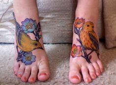 foot tattoo - matching birds