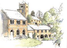 Muker in Swaledale, Yorkshire Dales ~ sketch ~ John Edwards