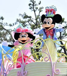 "Easter Hat donned Mickey and Minnie Mouse ""Disney Easter Wonderland"" Parade  Tokyo Disneyland"