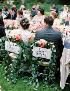 The Sweetest Sweetheart Chairs We've Ever Seen - New Ideas Wedding Chair Decorations, Wedding Chairs, Wedding Table, Wedding Reception, Wedding Furniture, Wedding Signage, Reception Table, Nestldown Wedding, Wedding Pinterest