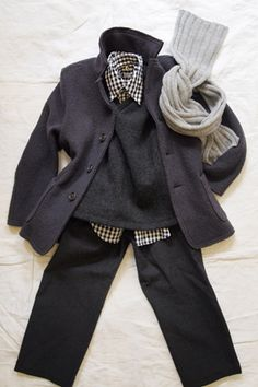 Black Gingham Shirts + Wool Jacket + Makie
