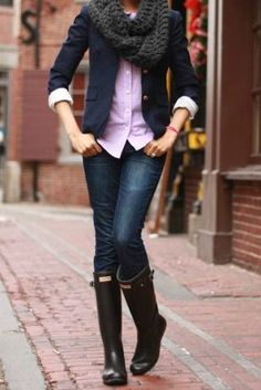 Blazer,Shirt,Scarf,Jeans and Knee Long Boots