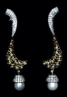 White and Golden Colour American Diamond Studded Earring @ $51.14