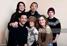 Actress Michelle Forbes, filmmaker Kogonada, actor Rory Culkin (front L-R) actors John Cho, Parker Posey and Haley Lu Richardson from the film 'Columbus' pose for a portrait in the WireImage Portrait Studio presented by DIRECTV during the 2017 Sundance Film Festival on January 22, 2017 in Park City, Utah. Columbus Movie, Rory Culkin, Michelle Forbes, Parker Posey, Haley Lu Richardson, Agnes Varda, John Cho, Actor John, January 22